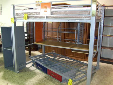 Twin Over Metal Loft Bed With Desk And Shelves Silver ...