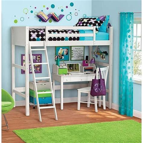 Twin Size Loft Bunk Bed with Ladder over Desk Kids Wood ...