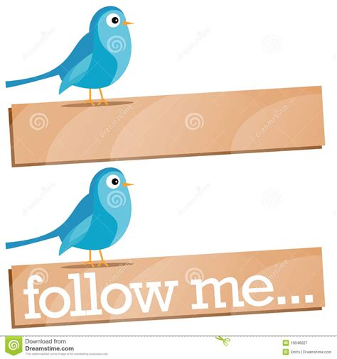 Twitter Bird With Follow Me Sign Royalty Free Stock ...