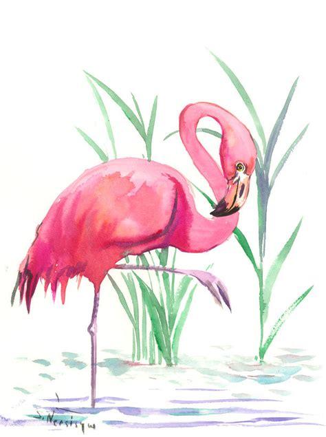 Two Flamingos, Original watercolor painting, 12 x 9 in ...