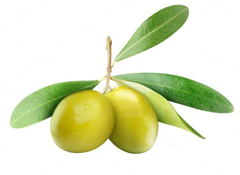 Two green olives with leaves ~ Food & Drink Photos on ...
