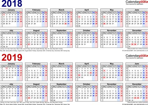 Two year calendars for 2018 & 2019 (UK) for Excel