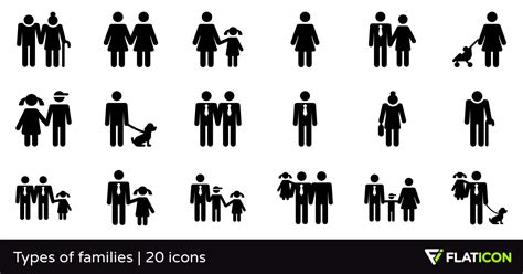Types of families 20 free icons (SVG, EPS, PSD, PNG files)
