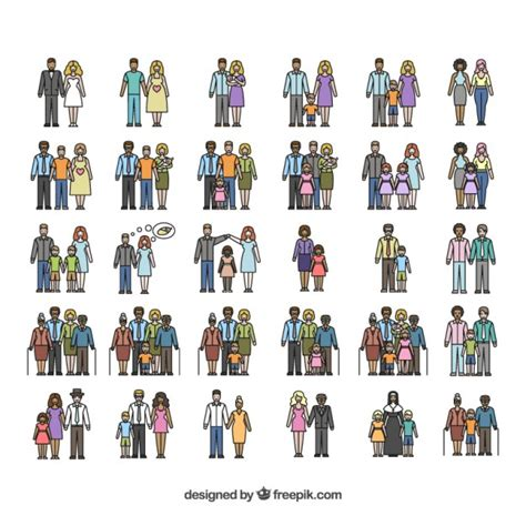 Types of families Vector | Free Download