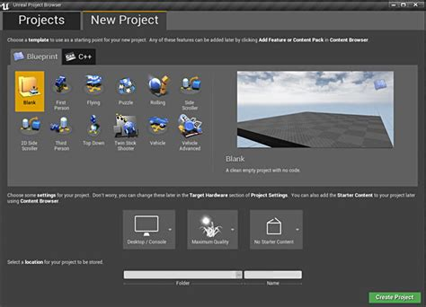 UE4: How to Create, Start and Open Your First New Project
