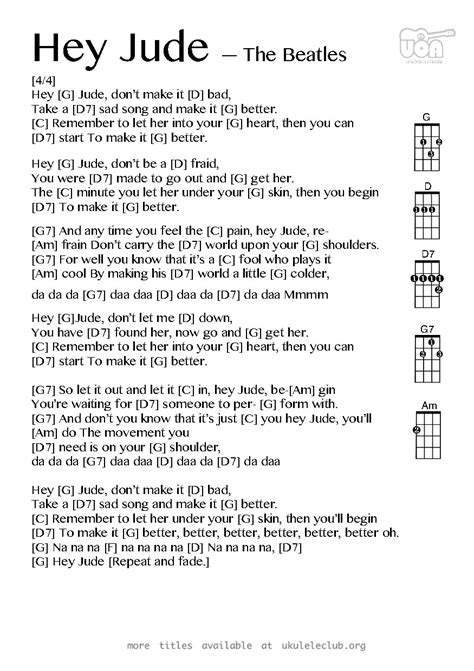 Ukulele chords - Hey Jude by The Beatles