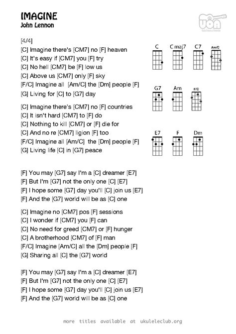 Ukulele chords - Imagine by John Lennon