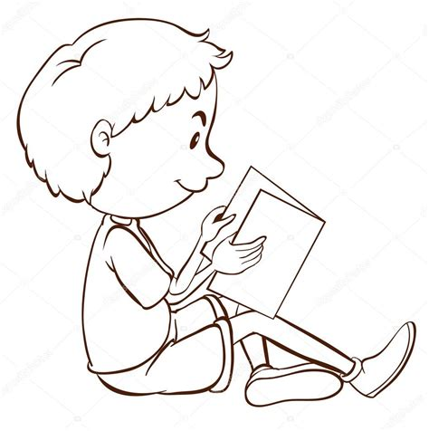 Un dibujo simple de un niño estudiando — Vector de stock ...