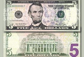 Un nuevo billete de $5 dólares entra en circulación