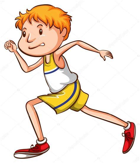 Un simple dibujo de un niño corriendo — Vector de stock ...