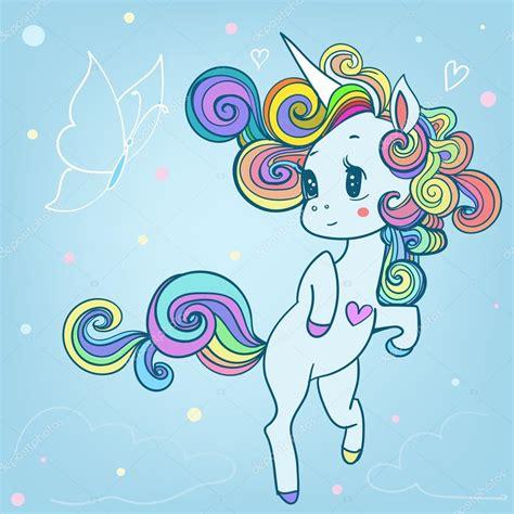 Unicornio de cuento de hadas de dibujos animados de color ...