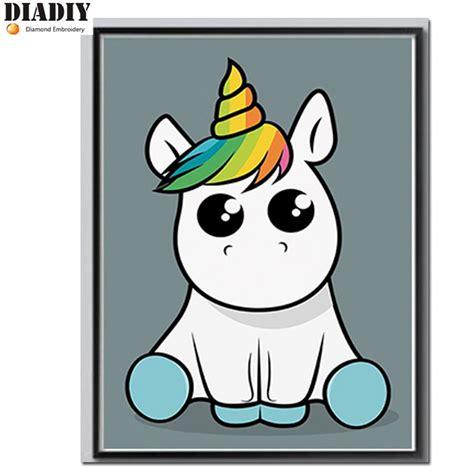 Unicornio de dibujos animados pintura diamante Diy ...