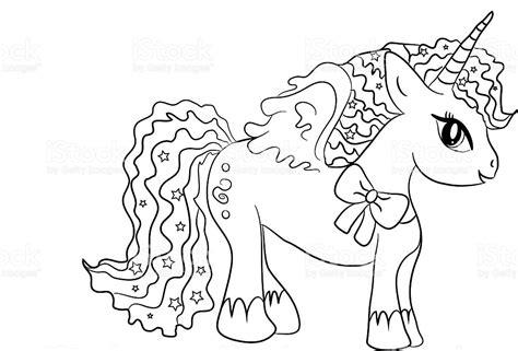 Unicornio Para Colorear Página Para Niños   Arte vectorial ...