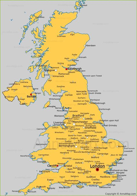 United Kingdom cities map | Cities and towns in UK ...