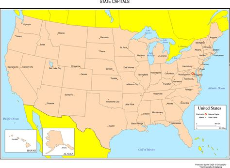 United states map with capitals and state names clipart