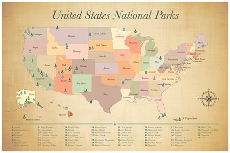 United States National Parks Map, Push Pin Map of the US ...