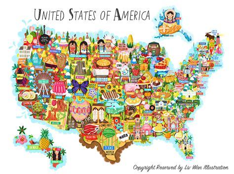 United States of America Map illustration   Liv Wan ...