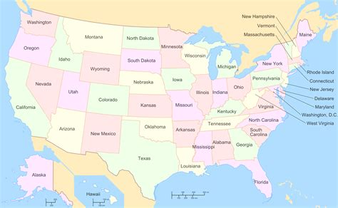 Us Map With Labels Of States   Cdoovision.com