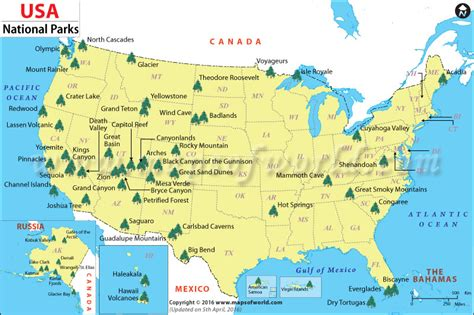 US National Parks Map, List of National Parks in the US