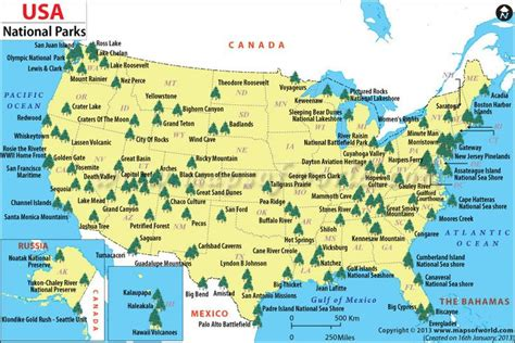 US National Parks Map - The World includes this great ...