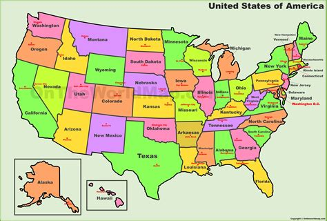 Usa States And Capital Map