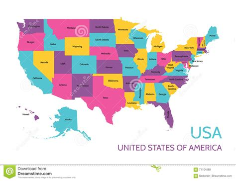 USA   United States Of America   Colored Vector Map With ...