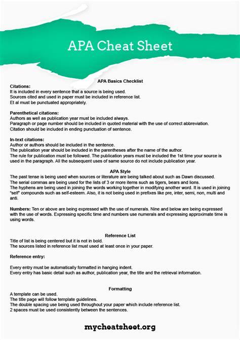 Use Our Good APA Cheat Sheet!   My Cheat Sheet