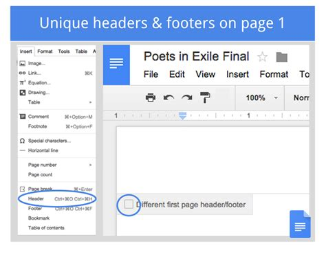 Using different headers and footer in the same Google ...