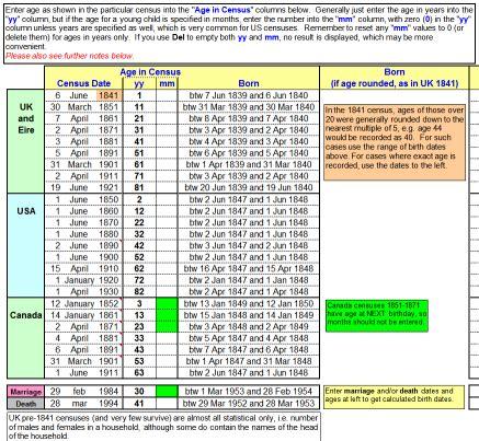 Utility ~ Spreadsheet: Birth Date Calculator V4 [FHUG ...