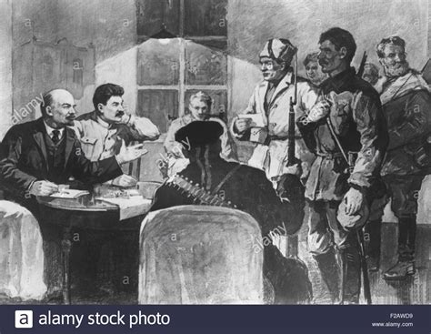 V.I. Lenin and Josef Stalin with Red Guards men in the ...
