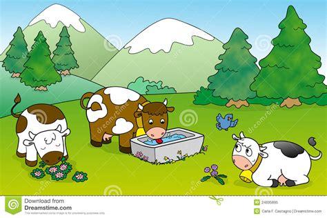 Vacas Lindas, Ilustración Para Los Cabritos Stock de ...