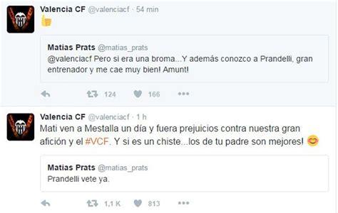 Valencia: El Valencia, al hijo de Matías Prats en twitter ...