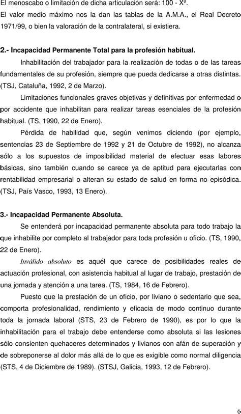 VALORACIÓN MÉDICA DE LA INCAPACIDAD CAUSADA POR LA ...