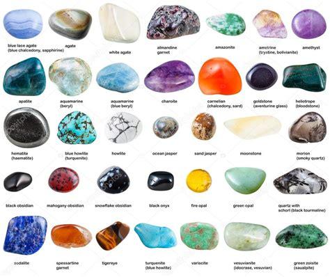 varias piedras preciosas pulidas con nombres aislados ...