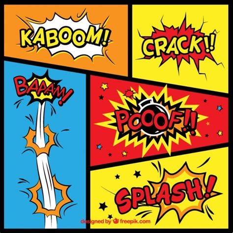 Variety of comic sound effects Vector | Free Download