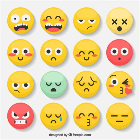 Variety of emoticons with expressive faces Vector | Free ...