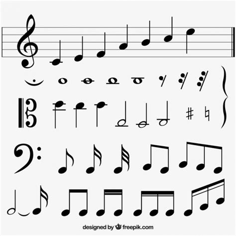 Variety of flat musical notes Vector | Free Download