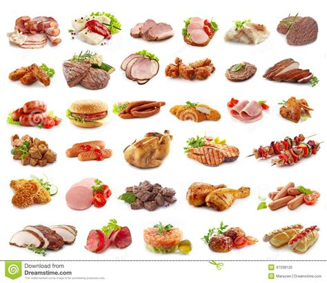 Various Kinds Of Meat Products Stock Photo   Image of ...