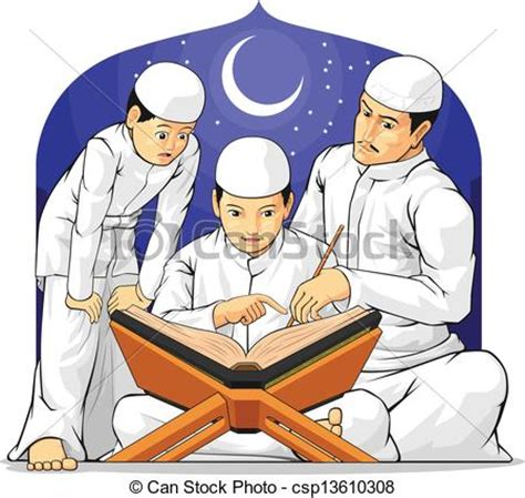 Vector Clipart of Kids Learn to Read Al Quran with Th   A ...