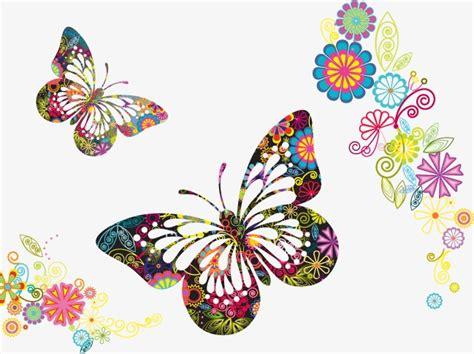Vector De Flores De Colores Y Mariposas, Mariposa, Color ...