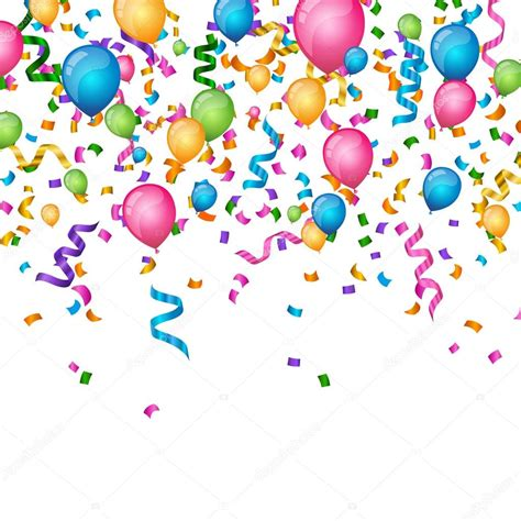 Vector fondo fiesta con confeti rizado cintas y globos ...