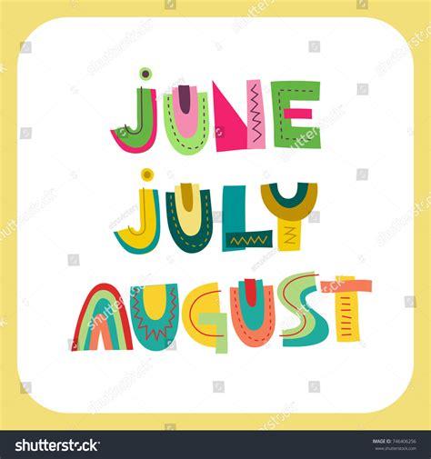 Vector Lettering Summer Months June July Stock Vector ...