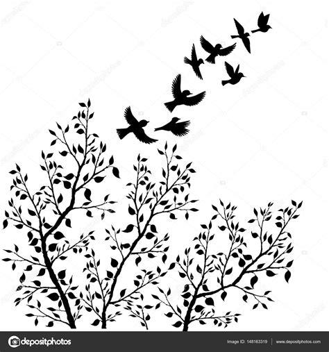 Vector siluetas de aves volando y follaje de árbol ...