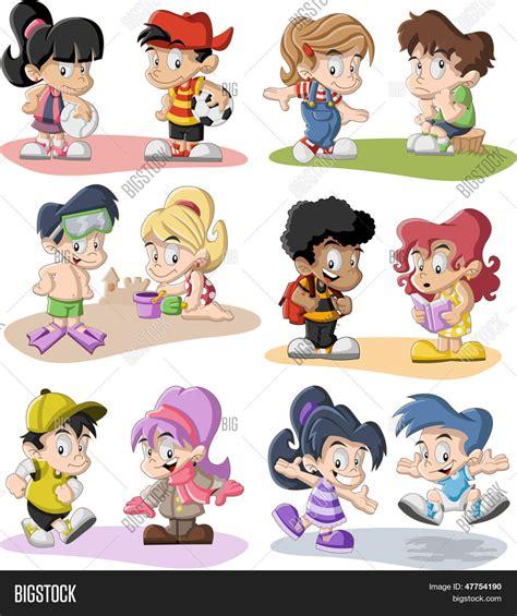 Vector y foto Grupo De Dibujos Animados Felices | Bigstock