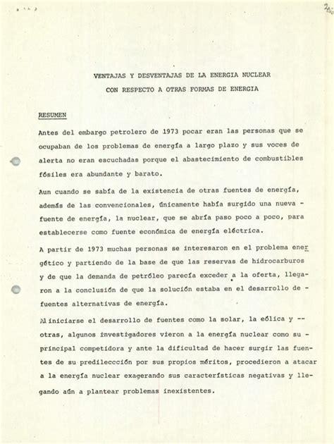 VENTAJAS Y DESVENTAJAS DE LA ENERGIA NUCLEAR CON RESPECTO ...