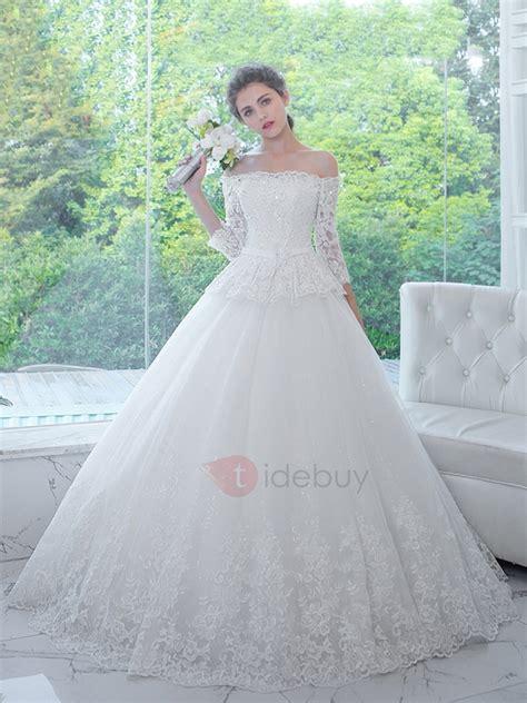 Vestido de Novia rebordeado sin hombro vestido de boda ...