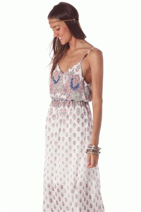 Vestido largo con estampado floral azul de estilo hippie ...