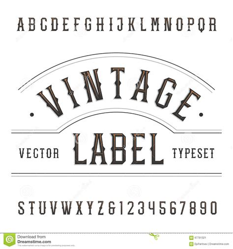 Vintage Alphabet Vector Font. Type Letters And Numbers In ...