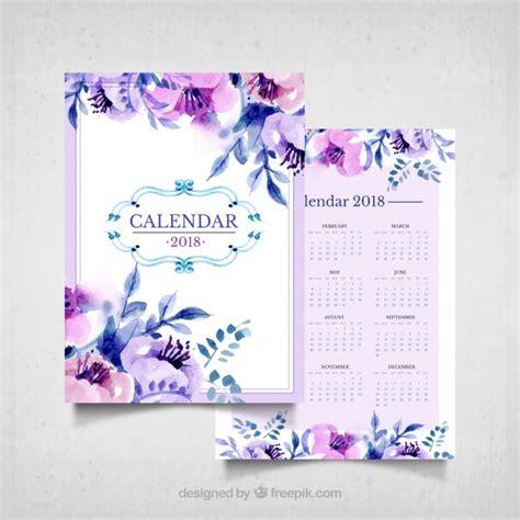 Vintage calendar of watercolor flowers in purple tones ...