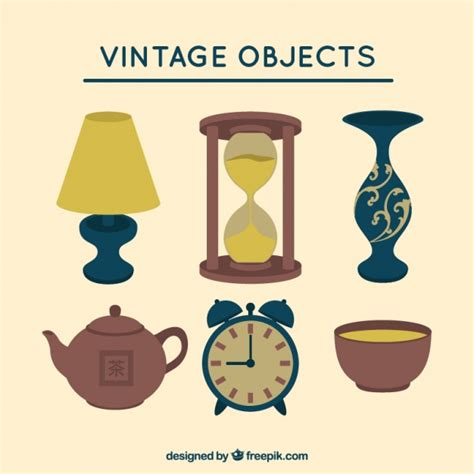 Vintage decorative objects Vector | Free Download
